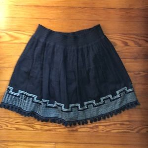 NWT J. Crew skirt, blue, embroidery detail, small